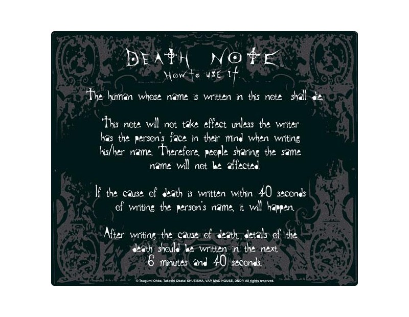 Mousepad Death Note Rules