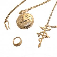 Σετ Edward Elric (Ρολόι τσέπης, κρεμαστό, δαχτυλίδι)